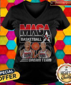 Funny Donald Trump And Biden Maga Basketball Dream Team V-neck