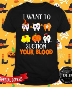 Hot Teeth I Want To Suction Your Blood Halloween Shirt - Design By Fanatictees.com