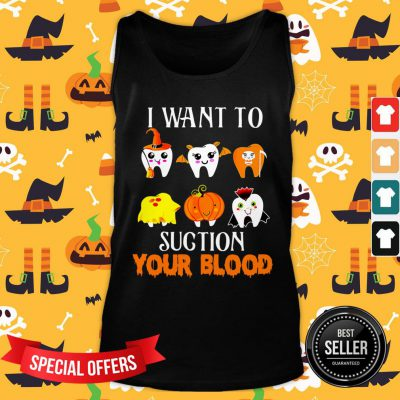 Hot Teeth I Want To Suction Your Blood Halloween Tank Top - Design By Fanatictees.com