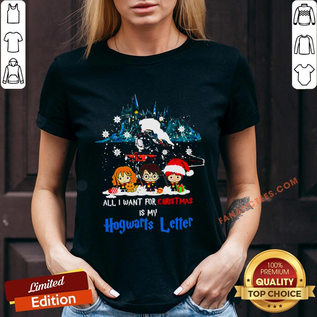 Nice All I Want For Christmas Is Hogwarts Letter V-neck - Design By Fanatictees.com