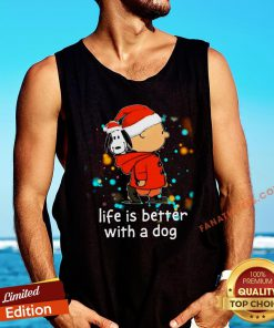 Nice Charlie Brown And Snoopy Life Is Better With A Dog Christmas Tank Top - Design By Fanatictees.com