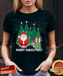 Official Santa And Turtles Merry Christmas V-neck - Design By Fanatictees.com