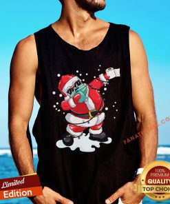Top Dabbing Santa Wearing Mask Christmas Tree Lights Pajama Tank Top - Design By Fanatictees.com