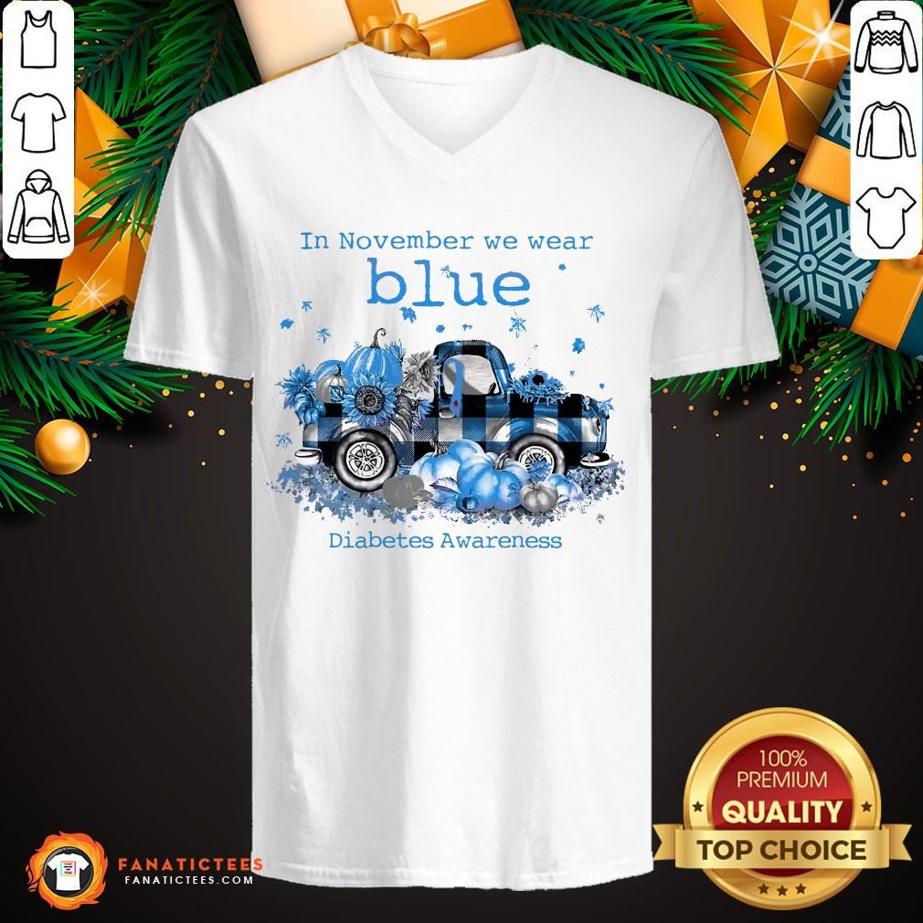 Awesome In November We Wear Blue Diabetes Awareness V Neck- Design By Fanatictees.com