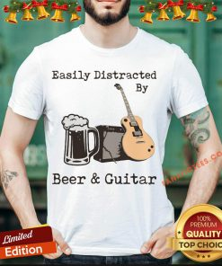 Funny Easily Distracted By Beer And Guitar Shirt - Design By Fanatictees.com