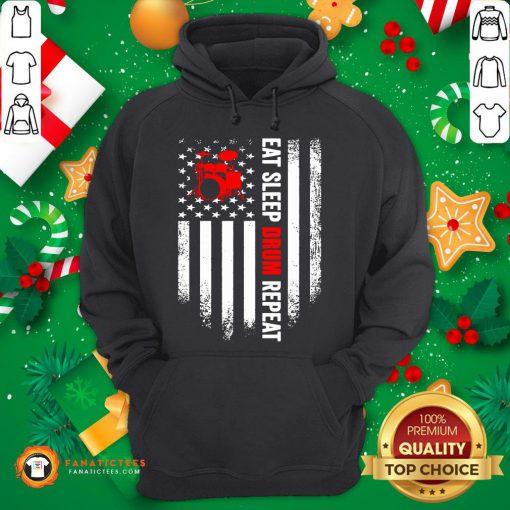Funny Eat Sleep Drum Repeat Drummer Vintage American Flag Hoodie- Design By Fanatictees.com