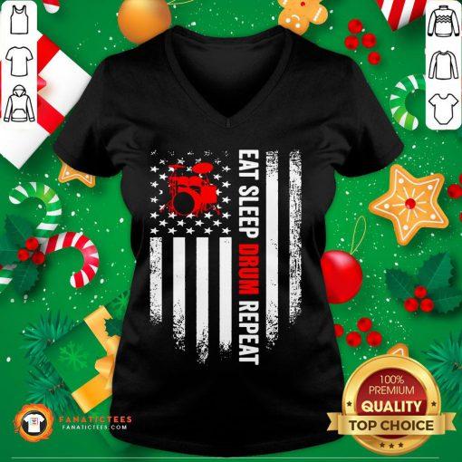 Funny Eat Sleep Drum Repeat Drummer Vintage American Flag V Neck- Design By Fanatictees.com