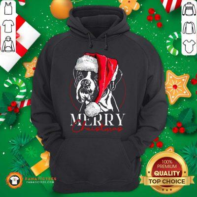 Funny Santa Boxer Dog Merry Christmas Dog Hoodie - Design By Fanatictees.com