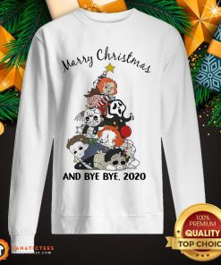 Hot Horror Chibi Character Merry Christmas Tree And Bye Bye 2020 Sweatshirt- Design By Fanatictees.com