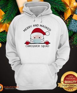 Official Santa Face Mask Merry And Masked Caregiver Squad Christmas Hoodie- Design By Fanatictees.com