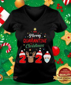 Merry Quarantine Christmas 2020 V Neck- Design By Fanatictees.com