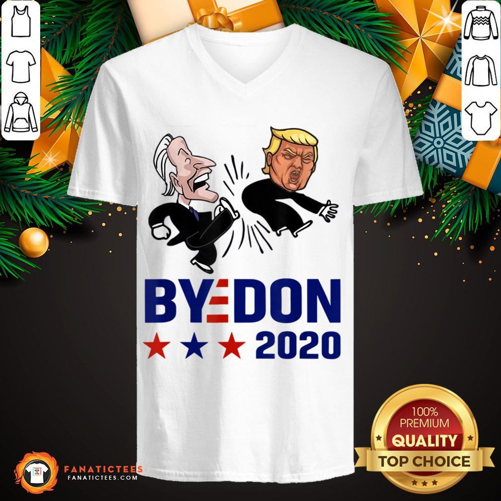 Top Joe Biden Kick Donald Trump Byedon 2020 V Neck- Design By Fanatictees.com