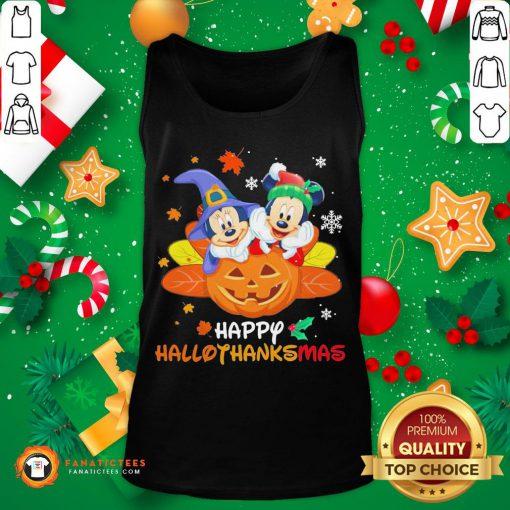 Top Mickey Mouse And Minnie Happy Hallothanksmas Christmas Tank Top- Design By Fanatictees.com
