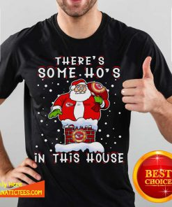 Kansas City Chiefs Christmas There Is Some Hos In This House Santa Stuck In The Chimney NFL Youth Shirt - Design By Fanatictees.com