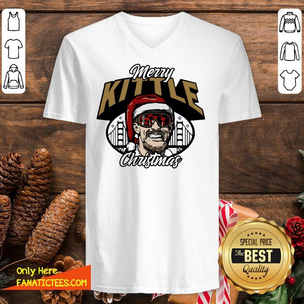 George Kittle Merry Kittle Christmas V-neck- Design By Fanatictees.com