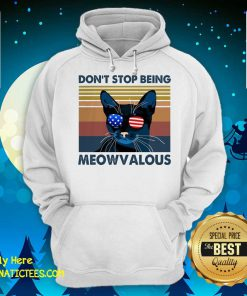 Cat Don't Stop Being Meowvalous American Flag Vintage Hoodie - Design By Fanatictees.com