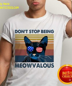 Cat Don't Stop Being Meowvalous American Flag Vintage Shirt - Design By Fanatictees.com