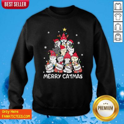 Cats Merry Catmas Merry Christmas Tree Sweatshirt- Design By Fanatictees.com