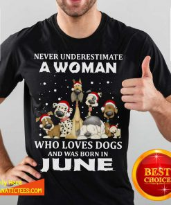 Never Underestimate A Woman Who Loves Dogs And Was Born In June Christmas Shirt- Design By Fanatictees.com