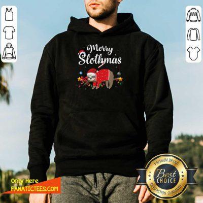 Merry Slothmas Sloth Funny Christmas Hoodie- Design By Fanatictees.com