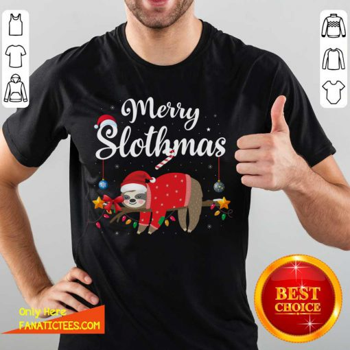 Merry Slothmas Sloth Funny Christmas Shirt- Design By Fanatictees.com