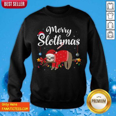 Merry Slothmas Sloth Funny Christmas Sweatshirt- Design By Fanatictees.com