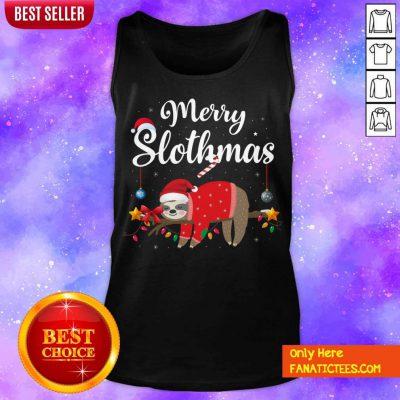 Merry Slothmas Sloth Funny Christmas Tank Top- Design By Fanatictees.com