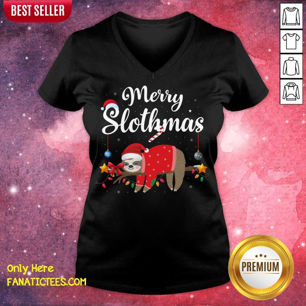 Merry Slothmas Sloth Funny Christmas V-neck- Design By Fanatictees.com