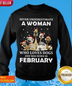 Never Underestimate A Woman Who Loves Dogs And Was Born In February Christmas Sweatshirt- Design By Fanatictees.com
