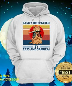 Easily Distracted By Cats And Samurai Vintage Hoodie - Design By Fanatictees.com