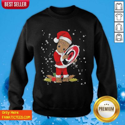 Santa Baby Groot Hug Carolina Hurricanes Christmas Sweatshirt- Design By Fanatictees.com