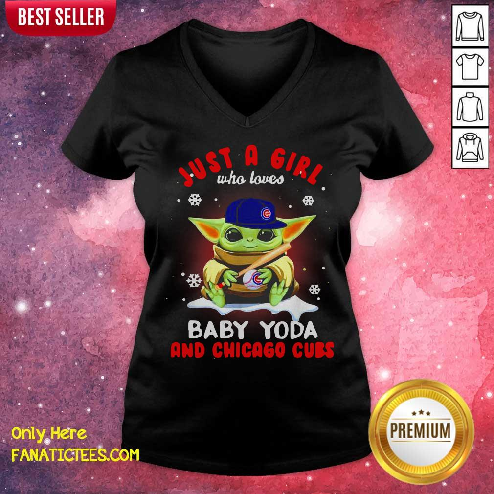 Just A Girl Who Loves Baby Yoda Wear Hat Chicago Cubs V-neck-Design By Fanatictees.com
