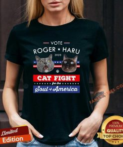 Vote Roger Haru 2020 Cat Fight For The Soul Of America V-neck- Design By Fanatictees.com