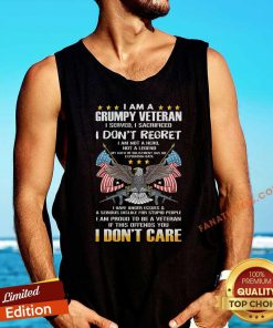 I Am A Grumpy Veteran I Dont Regret If This Offends You I Dont Care Eagle Us Flag Tank Top