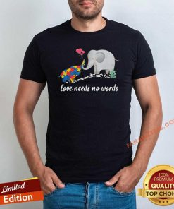 Non Verbal Autism Awareness Elephant Love Needs No Words Shirt