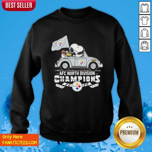 Snoopy And Woodstock Drive AFC North Division Champions 2020 Steelers Sweatshirt- Design By Fanatictees.com
