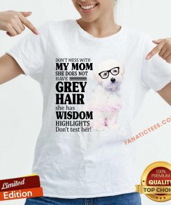 Pretty Maltipoo My Mom Grey Hair Wisdom Highlights American Flag V-neck