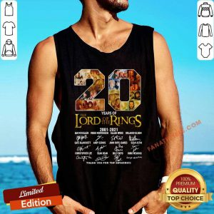 20 Years The Lord Of The Rings 2001 2021 Thank You For The Memories Signature Tank Top