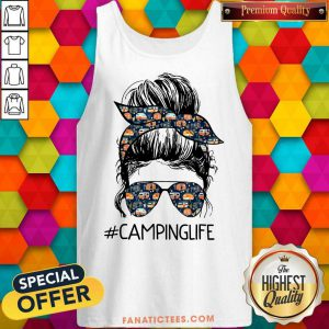Camping Life Girl Messy Busy Tank Top