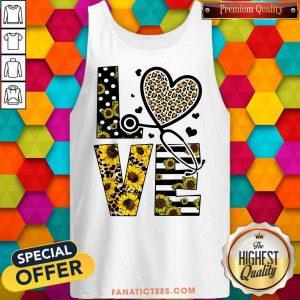 Love Nurse Life Sunflower Leopard Tank Top