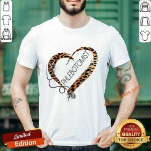 Phlebotomist Cheetah Print Heart Frame Shirt