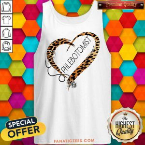 Phlebotomist Cheetah Print Heart Frame Tank Top